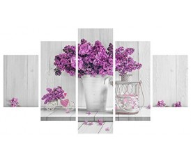PURPLE FLOWERS - VOGUE QUADRO MODERNO 5 PEZZIRO MODERNO 5 PEZZI