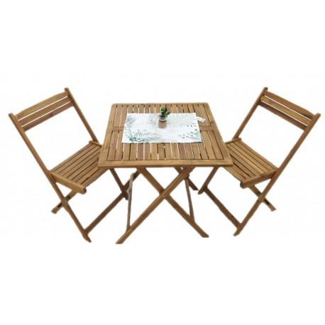 Tavoli Da Campeggio Pieghevoli In Legno.Tavolo In Legno Acacia Pieghevole Con 2 Sedie 70x70 Brico Casa