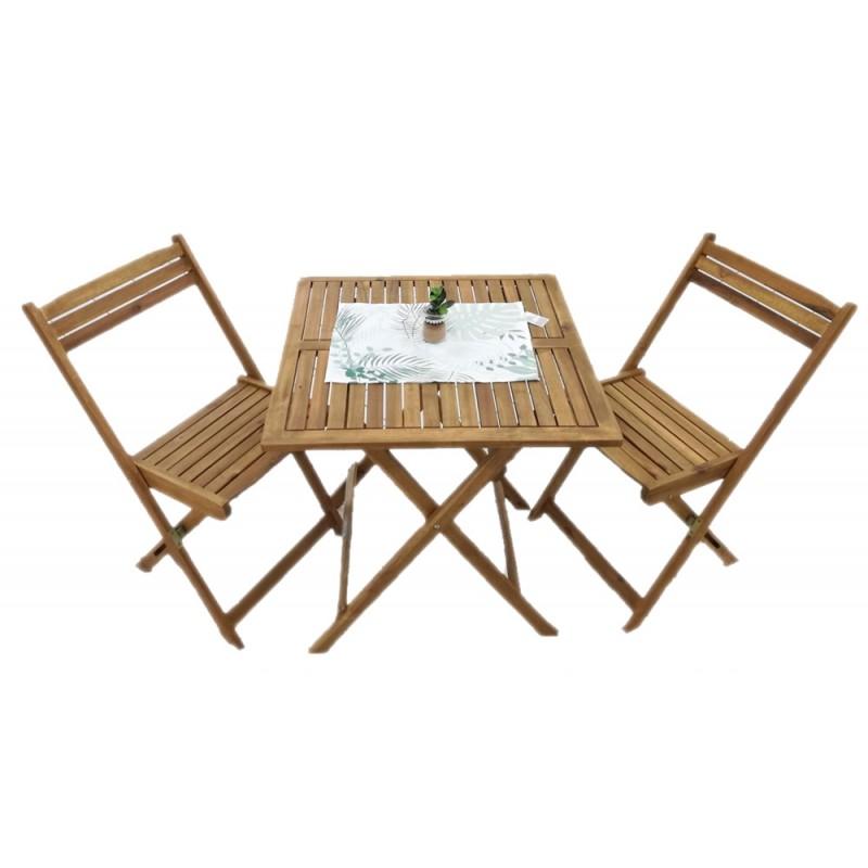 Sedie Pieghevoli Per Il Mare.Tavolo In Legno Acacia Pieghevole Con 2 Sedie 70x70 Brico Casa