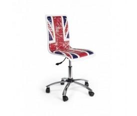 Sedia per scrivania con bandiera inglese effetto graffiato base in metallo con ruote