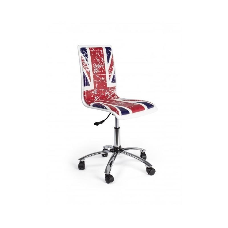 Sedia Sdraio In Inglese.Sedia Per Scrivania Con Bandiera Inglese Effetto Graffiato Base In