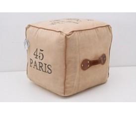 Pouf in tessuto stile viaggiatore beige forma pacco postale