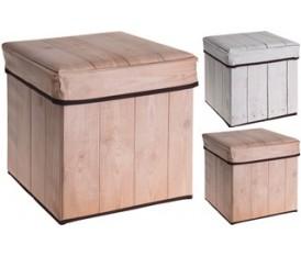 Pouf rigido effetto legno naturale chiaro contenitore
