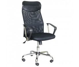 Poltrona da ufficio con schienale alto traspirante a rete seduta larga nera con ecopelle