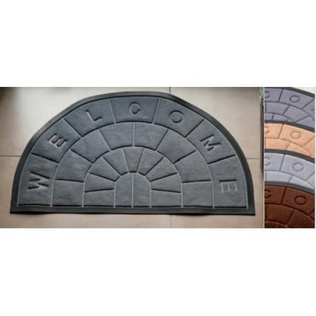 Zerbino ingresso casa in gomma e tessuto | Semicircolare| 4 colori | Antiscivolo | 50 x 80 cm