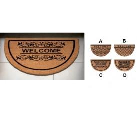 Zerbino ingresso casa in gomma e cocco | Semicircolare| 4 Modelli | Antiscivolo | 45 x 75 cm