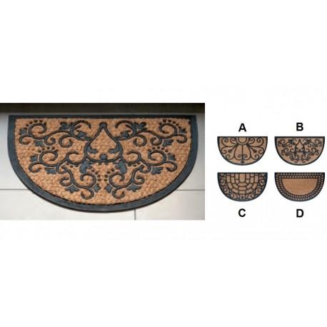 Zerbino ingresso casa in gomma e cocco | Semicircolare| 4 Modelli | Antiscivolo | 40 x 60 cm