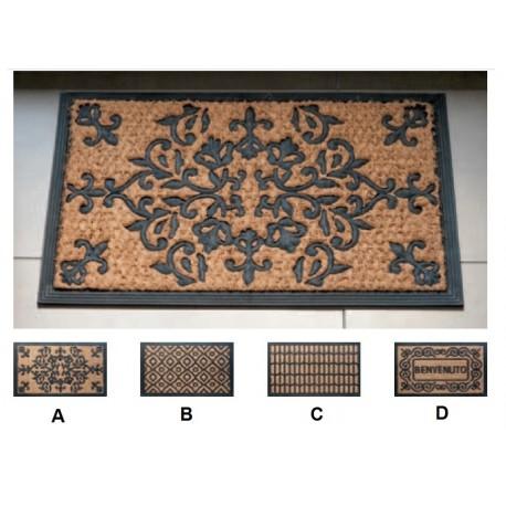 Zerbino ingresso casa in gomma e cocco | Rettangolare | 4 Modelli | Antiscivolo | 40 x 60 cm