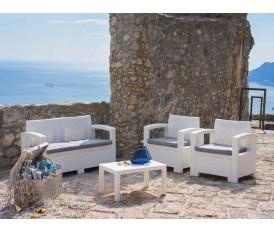 Capri - Salotto da giardino rattan bianco grigio