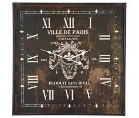 Orologio vintage quadrato anticato in legno anticato industriale - Ville de Paris