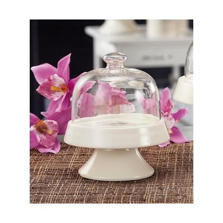 Alzata in ceramica e campana in vetro
