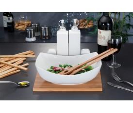 Servizio in porcellana insalata antipasto con base in bamboo